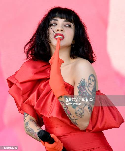 Mon Laferte performs on Coachella Stage during the 2019 Coachella Valley Music And Arts Festival on April 12 2019 in Indio California