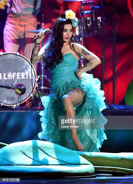 Mon Laferte performs onstage at the 18th Annual Latin Grammy Awards at MGM Grand Garden Arena on November 16 2017 in Las Vegas Nevada