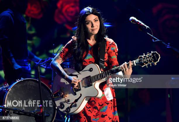 Mon Laferte performs onstage during rehearsals for the 18th annual Latin Grammy Awards at MGM Grand Garden Arena on November 13 2017 in Las Vegas...