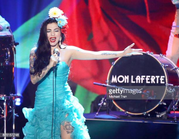 Mon Laferte performs onstage during the 18th Annual Latin Grammy Awards held at MGM Grand Garden Arena on November 16 2017 in Las Vegas Nevada
