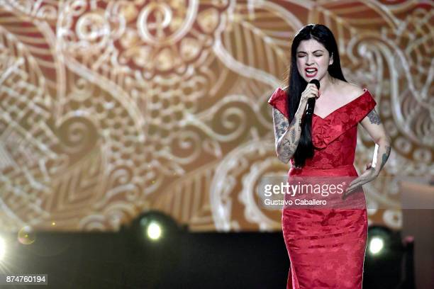 Mon Laferte performs onstage during the 2017 Person of the Year Gala honoring Alejandro Sanz at the Mandalay Bay Convention Center on November 15...
