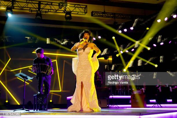 Mon Laferte performs onstage during the Latin Recording Academy's 2019 Person of the Year gala honoring Juanes at the Premier Ballroom at MGM Grand...