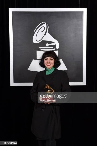 Mon Laferte poses with Best Alternative Music Album award backstage at the Premiere Ceremony during the 20th annual Latin GRAMMY Awards at MGM Grand...