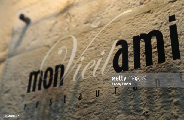 Mon Vieil Ami restaurant sign.