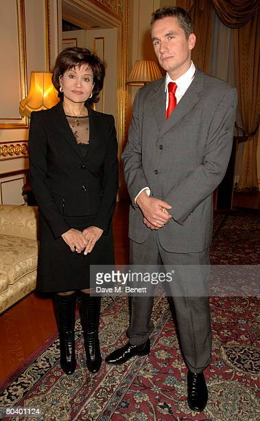 Mona Abdel Nasser and Rowan Somerville attend the launch of Somerville's latest book The End of Sleep at the Egyptian Embassy on March 27 2008 in...