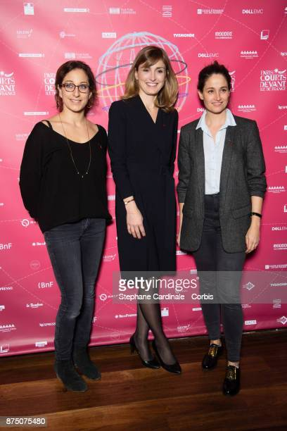 Mona Achache Julie Gayet and Marie Gillain attend the Paris Courts Devant Opening Ceremony at Bibliotheque Nationale de France on November 16 2017 in...