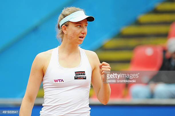 Mona Barthel of Germany celebrates a point during her match against Belinda Bencic of Switzerland during Day 2 of the Nuernberger Versicherungscup on...