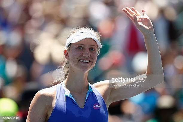 Mona Barthel of Germany celebrates her win against Andrea Petkovic of Germany during day three of the Bank of the West Classic at the Stanford...