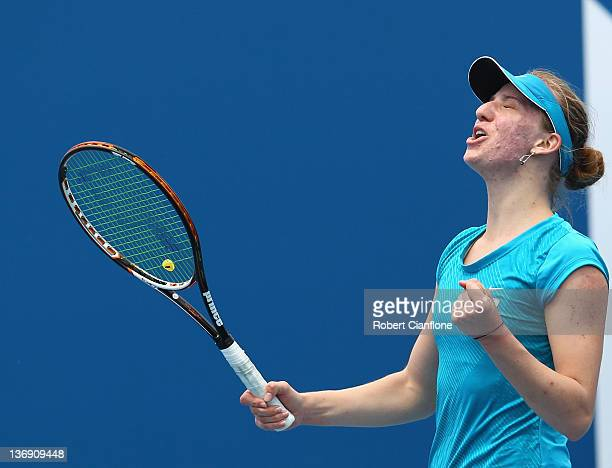 Mona Barthel of Germany celebrates her win againsts Angelique Kerber of Germany during the singles semi final match on day six of the 2012 Hobart...
