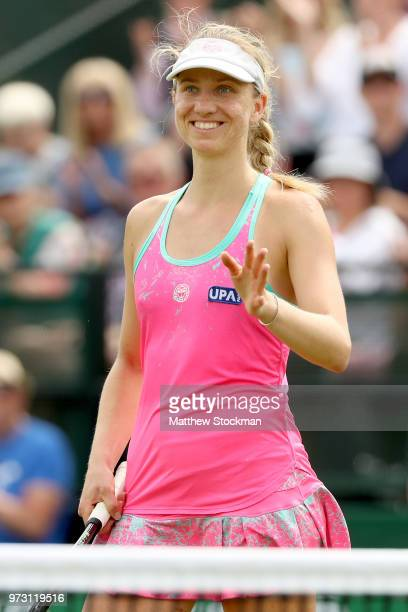 Mona Barthel of Germany celebrates her win over Magdelena Rybarikova of Slovakia during Day five of the Nature Valley Open at Nottingham Tennis...