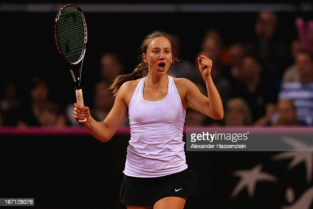 Mona Barthel of Germany celebrates victory after winning her match against Bojana Jovanovski of Serbia at the Fed Cup World Group Play off between...