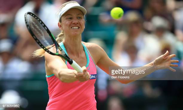 Mona Barthel of Germany hits a forehand during her second round match against Magdalena Rybarikova of Slovakia on Day Five of the Nature Valley Open...