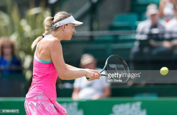 Mona Barthel of Germany in action against Donna Vekic of Croatia during Day Seven of the Nature Valley Open at Nottingham Tennis Centre on June 15,...