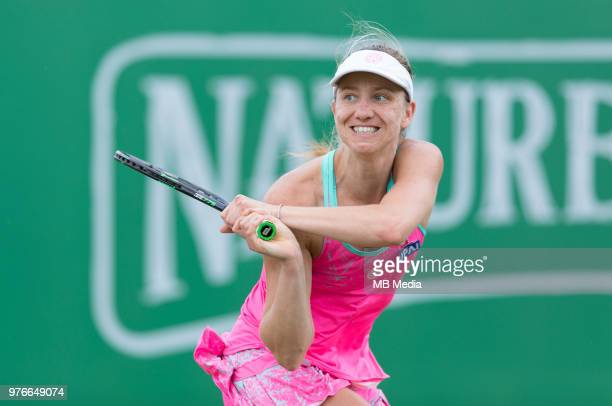 Mona Barthel of Germany in action against Donna Vekic of Croatia during Day Seven of the Nature Valley Open at Nottingham Tennis Centre on June 15...