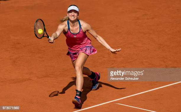 Mona Barthel of Germany in action during Day 6 of the WTA Nuernberger Versicherungscup on May 24 2018 in Nuremberg Germany