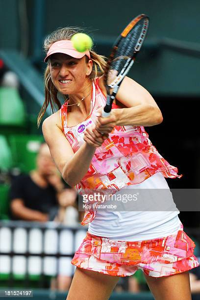 Mona Barthel of Germany in action during her women's singles first round match against Venus Williams of the United States during day one of the...