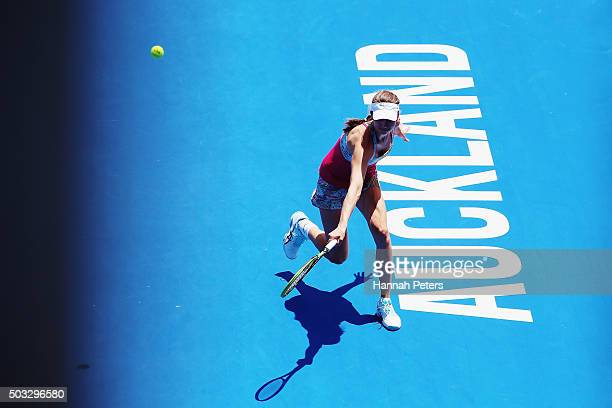 Mona Barthel of Germany plays a backhand during her first round match against Svetlana Kuznetsova of Russia during day one of the 2016 ASB Classic at...