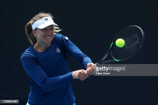 Mona Barthel of Germany plays a backhand in her match against Jessica Pegula of the United States during day three of the WTA 500 Yarra Valley...