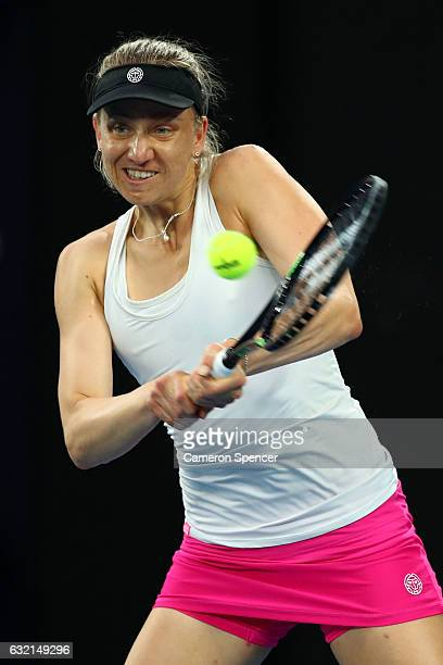 Mona Barthel of Germany plays a backhand in her third round match against Ashleigh Barty of Australia on day five of the 2017 Australian Open at...