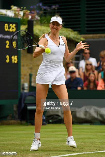 Mona Barthel of Germany plays a forehand during the Ladies Singles first round match against Coco Vandeweghe of The United States on day two of the...