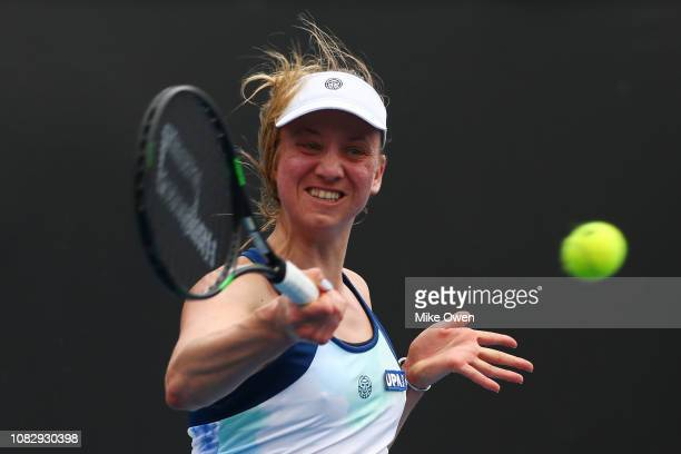 Mona Barthel of Germany plays a forehand in her first round match against Anastasija Sevastova of Latvia during day two of the 2019 Australian Open...