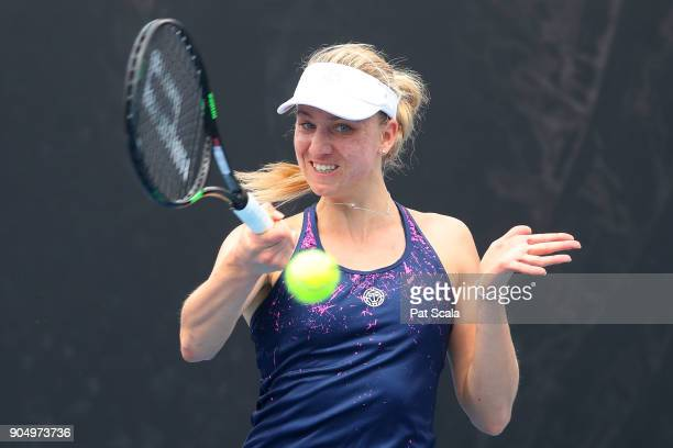 Mona Barthel of Germany plays a forehand in her first round match against Monica Niculescu of Romania on day one of the 2018 Australian Open at...