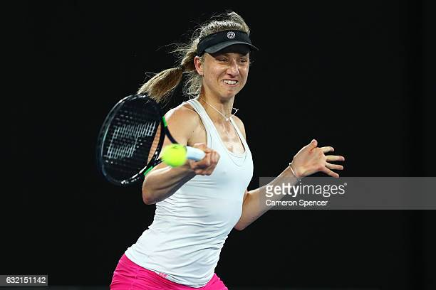 Mona Barthel of Germany plays a forehand in her third round match against Ashleigh Barty of Australia on day five of the 2017 Australian Open at...