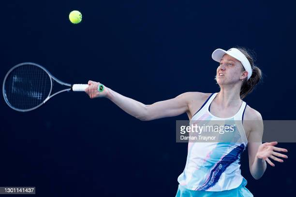 Mona Barthel of Germany plays a forehand in her Women's Singles first round match against Elisabetta Cocciaretto of Italy during day two of the 2021...