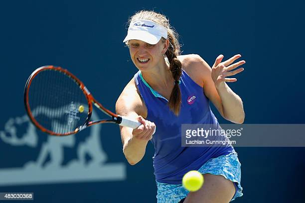 Mona Barthel of Germany plays against Andrea Petkovic of Germany during day three of the Bank of the West Classic at the Stanford University Taube...