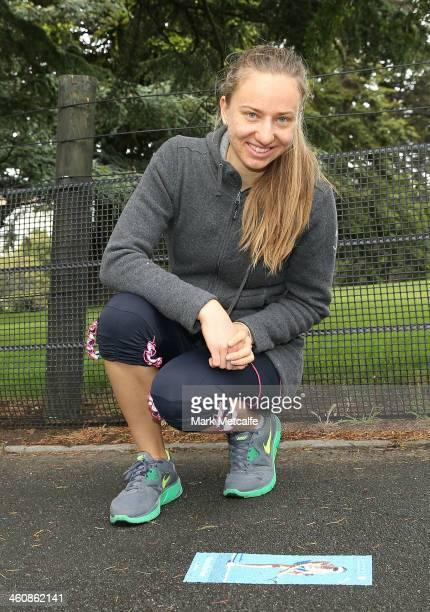 Mona Barthel of Germany poses at the champions tennis walk during day two of the Moorilla Hobart International at Domain Tennis Centre on January 6...