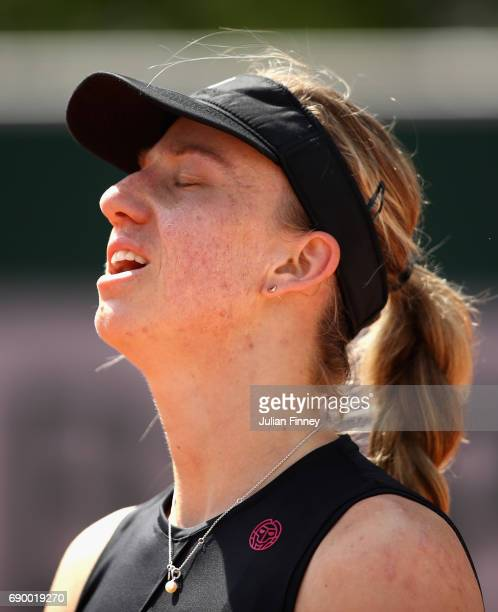 Mona Barthel of Germany reacts during the ladies singles first round match against Tsvetana Pironkova of Bulgaria on day three of the 2017 French...