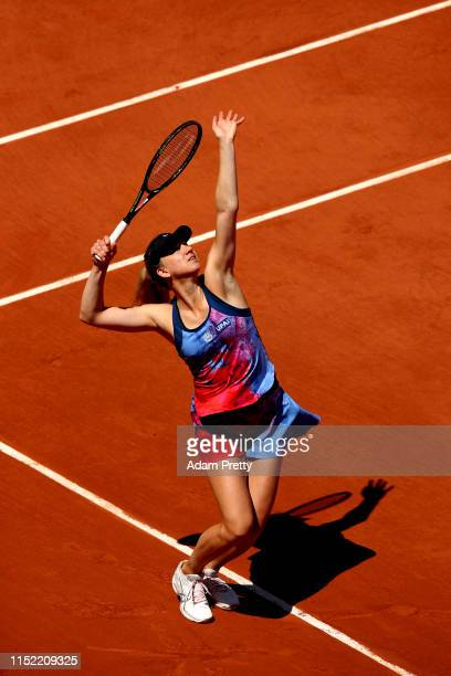 Mona Barthel of Germany serves during her ladies singles first round match against Caroline Garcia of France during Day three of the 2019 French Open...