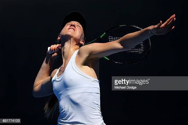 Mona Barthel of Germany serves in her first round match against Destanee Aiava of Australia on day one of the 2017 Australian Open at Melbourne Park...