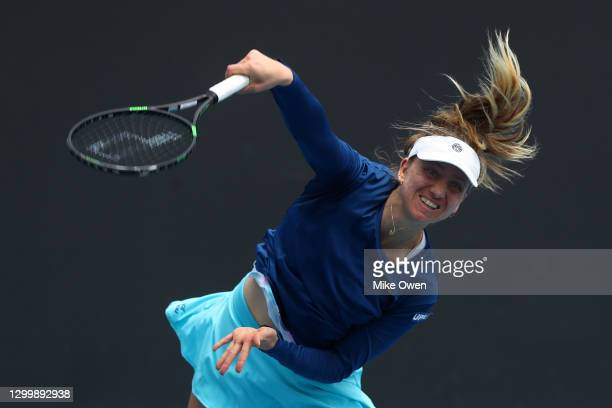 Mona Barthel of Germany serves in her match against Jessica Pegula of the United States during day three of the WTA 500 Yarra Valley Classic at...