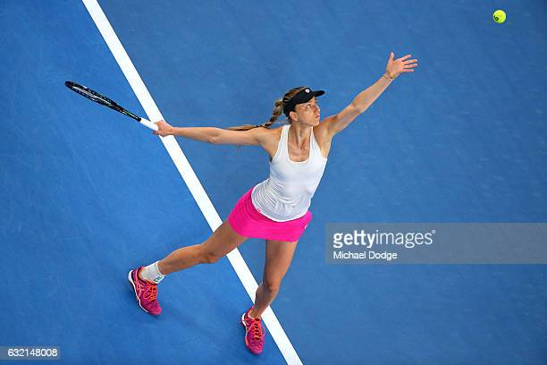 Mona Barthel of Germany serves in her third round match against Ashleigh Barty of Australia on day five of the 2017 Australian Open at Melbourne Park...