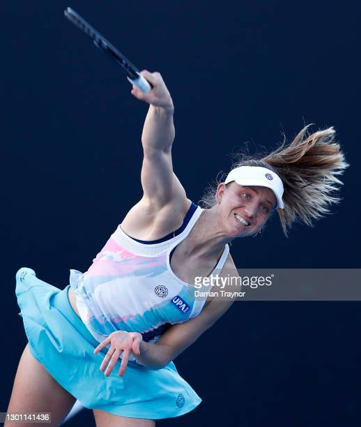 Mona Barthel of Germany serves in her Women's Singles first round match against Elisabetta Cocciaretto of Italy during day two of the 2021 Australian...