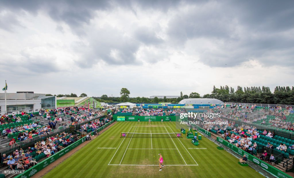 Mona Barthel returns serve to Magdalena Rybarikova during day 3 of the Nature Valley Open Tennis Tournament at Nottingham Tennis Centre on June 13, 2018 in Nottingham, England.