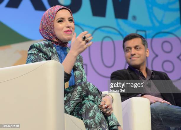 Mona Haydar and Wajahat Ali speak onstage at Katie Couric podcast LIVE The Muslim Next Door during SXSW at Austin Convention Center on March 11 2018...