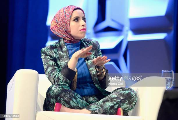 Mona Haydar speaks onstage at Katie Couric podcast LIVE The Muslim Next Door during SXSW at Austin Convention Center on March 11 2018 in Austin Texas