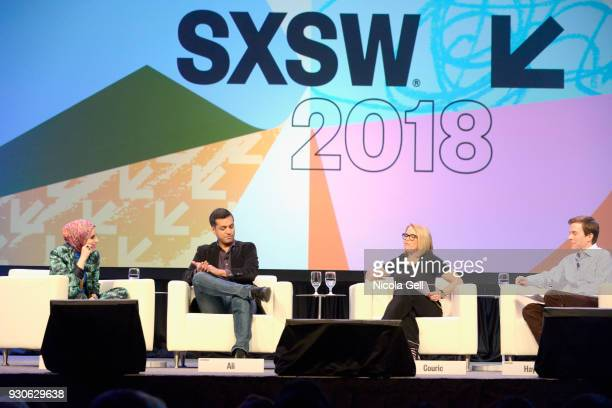 Mona Haydar Wajahat Ali Katie Couric and Brian Goldsmith speak onstage at Katie Couric podcast LIVE The Muslim Next Door during SXSW at Austin...