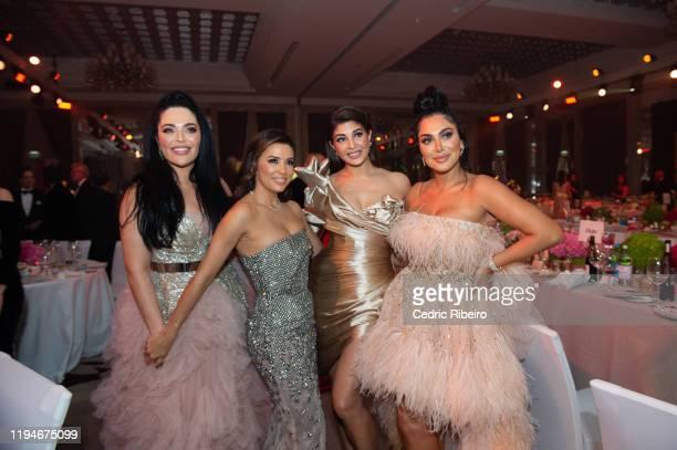 "Mona Kattan, Eva Longoria Baston, Jacqueline Fernandez & Huda Kattan attend the ""The Global Gift Gala Dubai"" presented by Huda Beauty at The Waldorf..."
