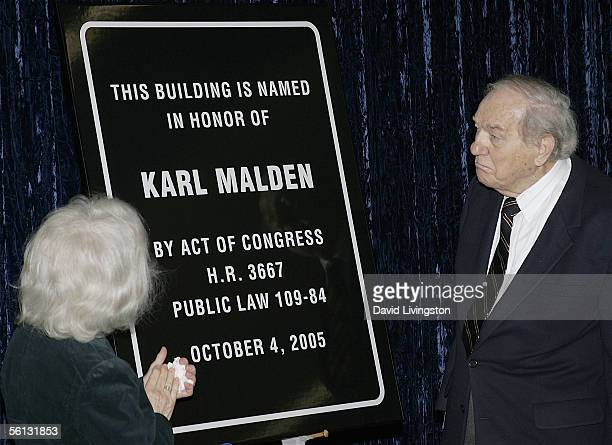 Mona Malden and actor Karl Malden view the dedication sign during the dedication of the Barrington Station Post Office to legendary Oscar winning...