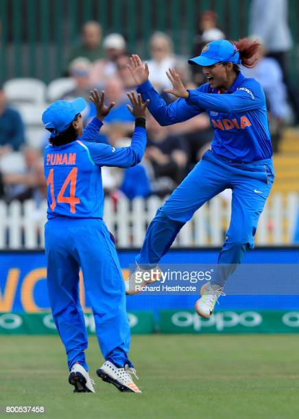 Mona Meshram of India celebrates catching out Sarah Taylor of England during the England v India group stage match at the ICC Women's World Cup 2017...