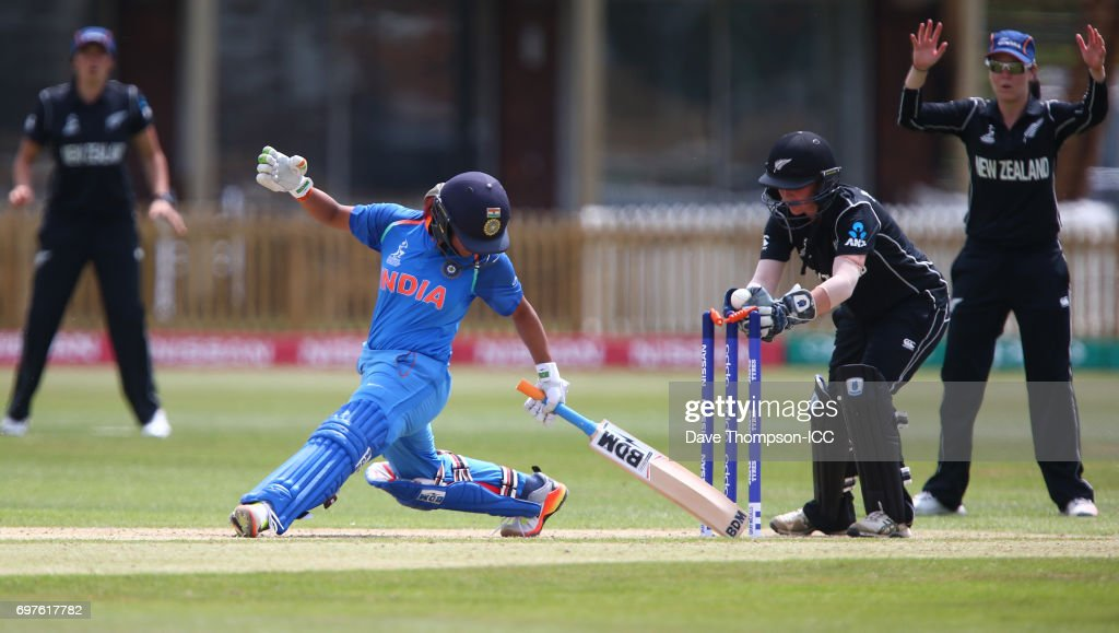 Mona Meshram of India evades being stumped by New Zealand wicket keeper Katey Martin during the ICC Women's World Cup warm up match between India and New Zealand at The County Ground on June 19, 2017 in Derby, England.