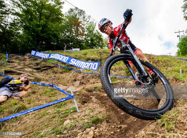 Mona Mitterwallner of Austria competes during the Women Junior Crosscountry Olympic distance race at the UCI Mountain Bike World Championships at...