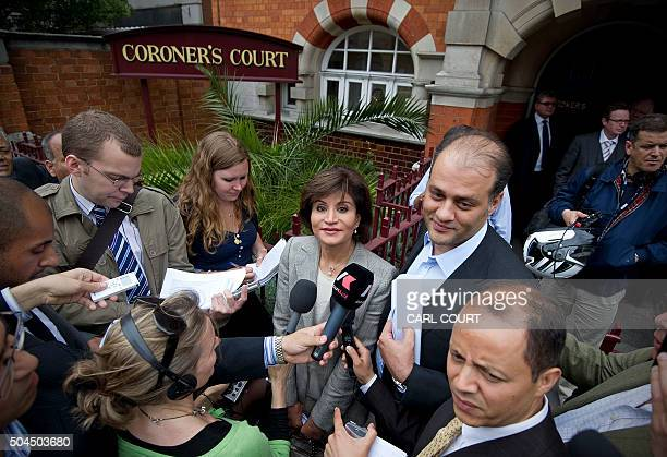 Mona Nasser the wife of late Egyptian billionaire Ashraf Marwan and her son Ahmad address the media outside Westminster Coroners Court in London on...