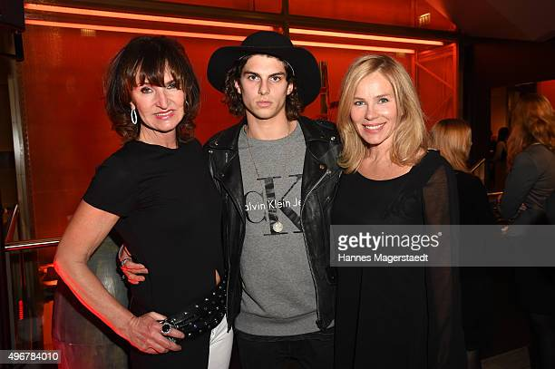 Mona Opris Marlon Peter and his mother Carola Peter during the 'Marcel Ostertag Charity Fashion Show 2015' at Sofitel Munich Bayerpost on November 11...