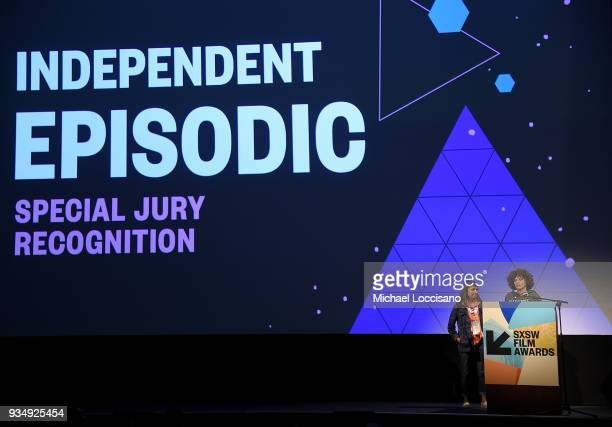 Mona Panchal and Nadia Hallgren accept the SXSW Independent Episodic award for 'She's the Ticket' at the SXSW Film Awards show during the 2018 SXSW...