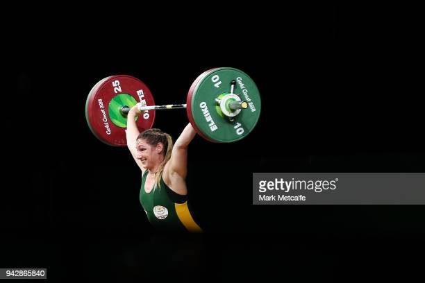 Mona Pretorius of South Africa competes during the Women's 63kg Weightlifting Final on day three of the Gold Coast 2018 Commonwealth Games at Carrara...