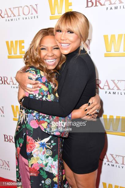 "Mona Scott-Young and Tamar Braxton are seen as We TV celebrates the premiere of ""Braxton Family Values"" at Doheny Room on April 02, 2019 in West..."